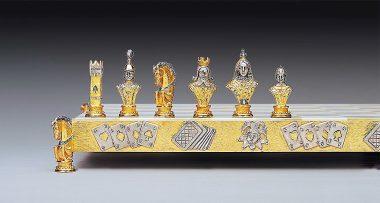 """Ensemble """"Poker I"""" Echiquier et Jeu d'Echecs en Bronze, Onyx et Or 24 Carats"""