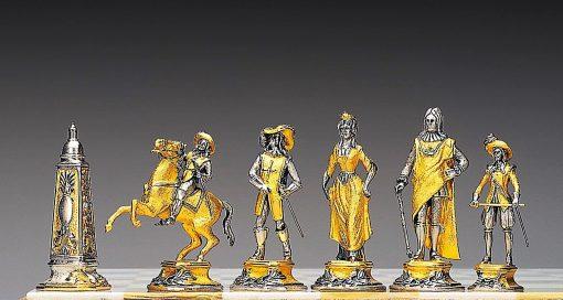 """Ensemble """"Louïs XIV le Roi Soleil"""" Table d'Echiquier et Jeu d'Echecs en Bronze, Onyx et Or 24 Carats"""