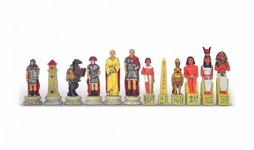 """Ensemble """"Romains vs Egyptiens"""" Echiquier en Similicuir & Jeu d'Echecs en Résine Peint à la Main"""