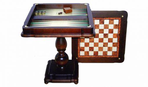 """Table """"Deux en Un II"""" Echiquier, Jeu d'Echecs et de Backgammon en Bois d'Hêtre et d'Orme"""