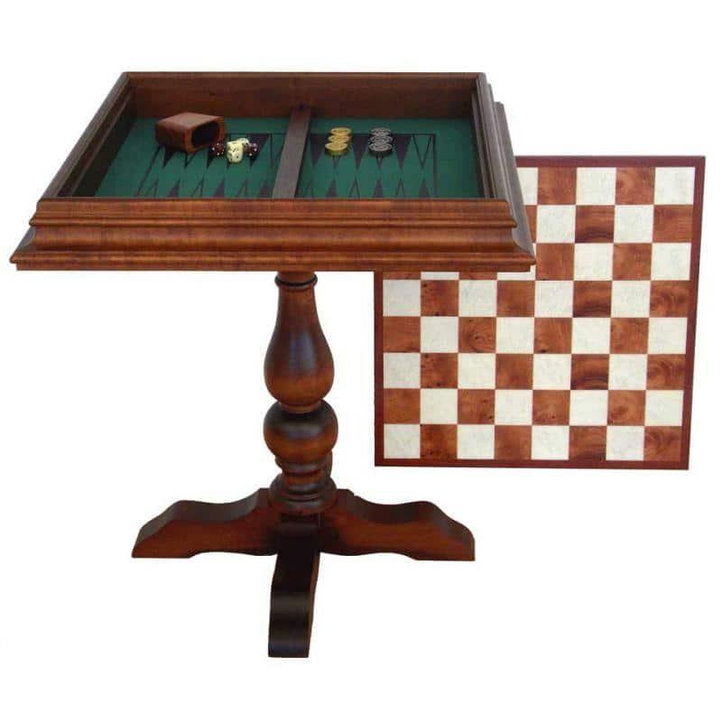 """Table """"Deux en Un"""" Echiquier, Jeu d'Echecs et de Backgammon en Racine de Bruyère"""
